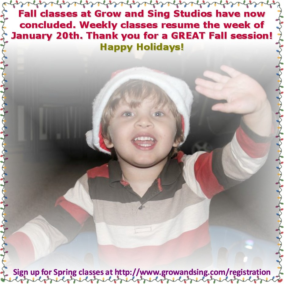 Fall classes end at Grow and Sing Studios