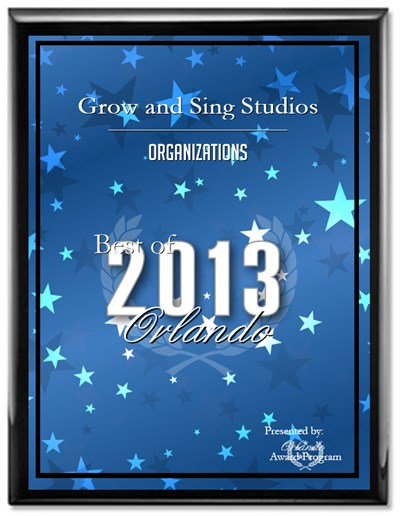 Grow and Sing Studios Orlando award