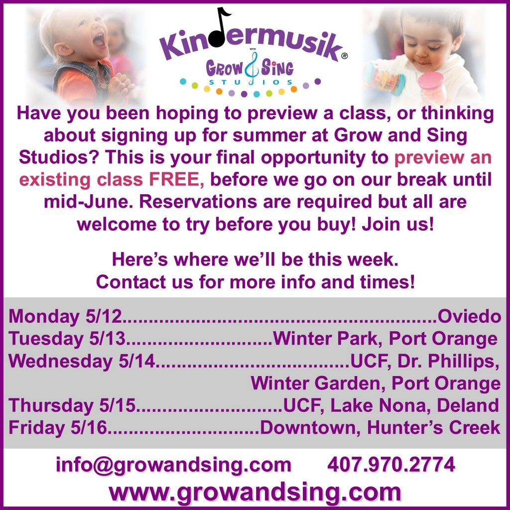 free kindermusik preview class final week